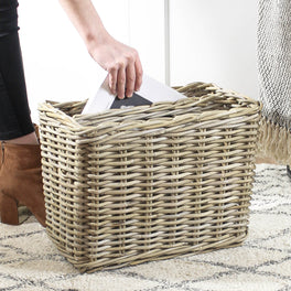 Woven Wicker Magazine Basket