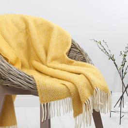 Yellow Woven Wool Throw