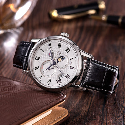 100% Original ORIENT Men's Watches Automatic Mechanical Watch Leather Casual Business Retro Sun And Moon Ttracking Wristwatch