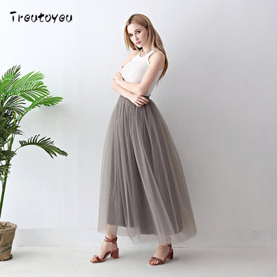 100% Real Photos 5 Layers 100cm Maxi Long Women Skirts Ladies Tulle Skirt Elegant Wedding Skirt Faldas Faldas Jupe Saia