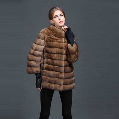 100% Genuine Fur Brown Chinchilla Bat Sleeve Women Luxury Russia Fur Parka MR MRS Couple Design