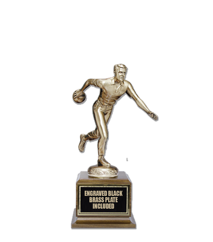Bowling M/F Cast Bronze Trophy 15""