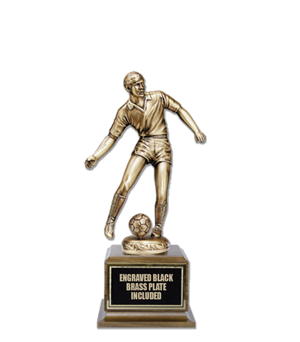 Soccer M/F Cast Bronze Trophy 14""