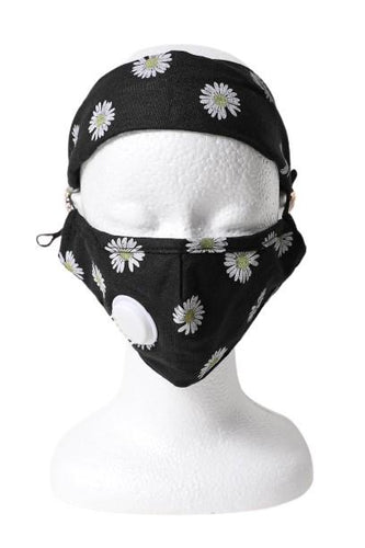 Daisy Headband Face Mask Set - Black