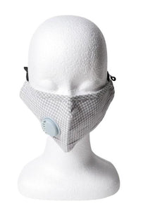 Gingham Respirator Face Mask - Gray