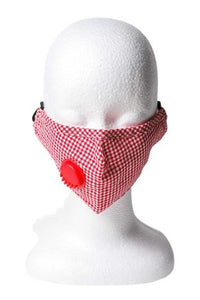 Gingham Respirator Face Mask - Red