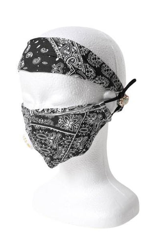 Paisley Print Headband & Mask Set - Black - Face
