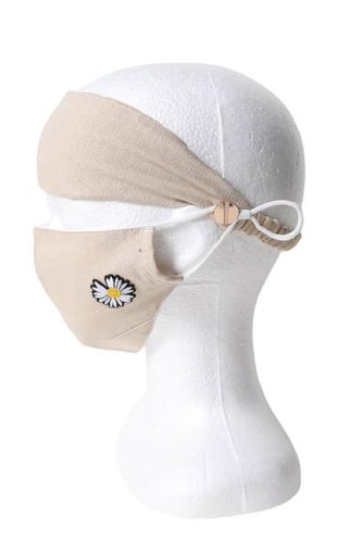 Single Daisy Headband & Face Mask Set - Linen