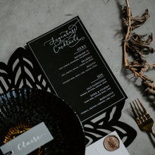 Load image into Gallery viewer, modern calligraphy wedding menu