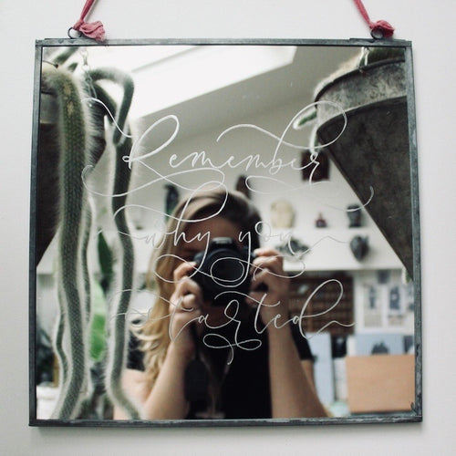 Hand Engraved Modern Calligraphy Mirror