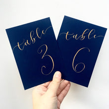 Load image into Gallery viewer, Navy Blue Table Numbers