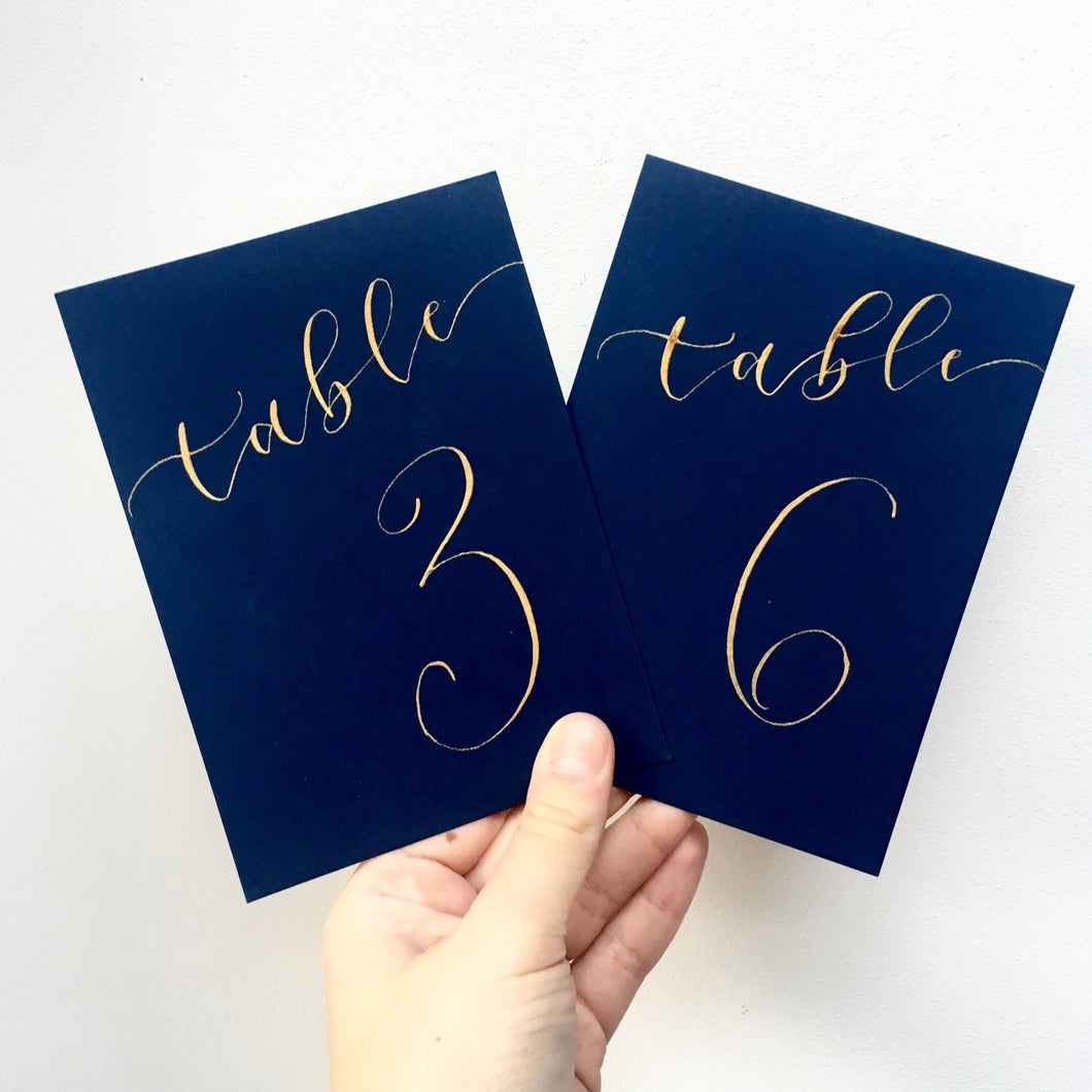 Navy Blue Table Numbers