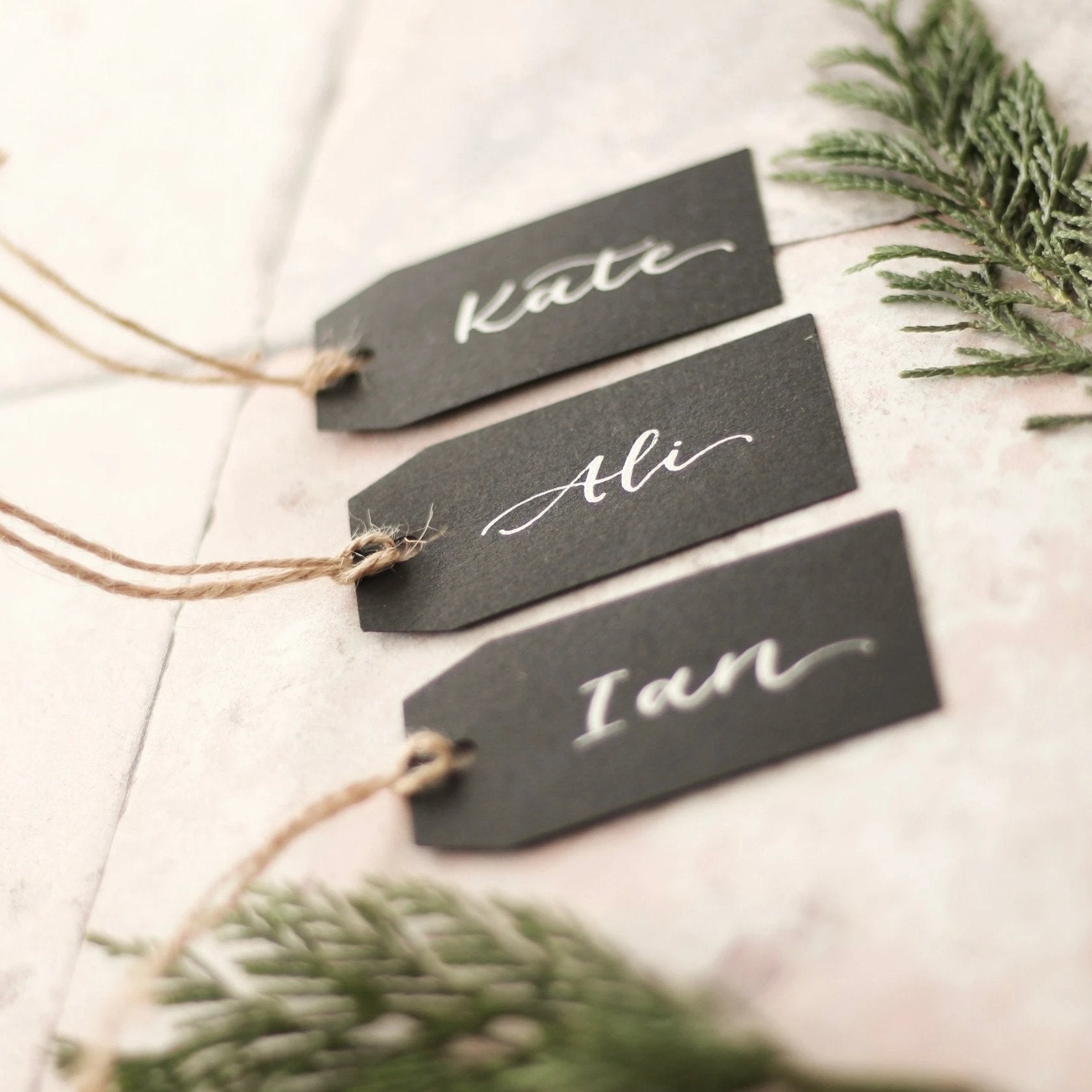 Black Luggage Tag Place Card