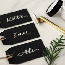 Load image into Gallery viewer, Black Luggage Tag Place Card