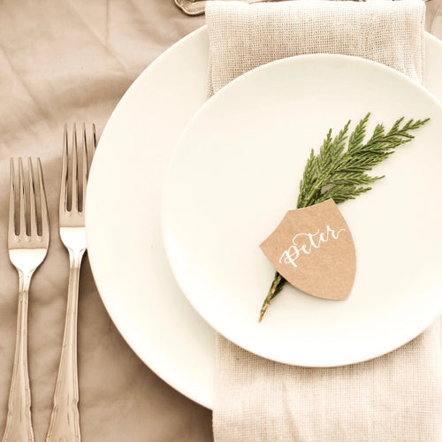 shield place cards wedding