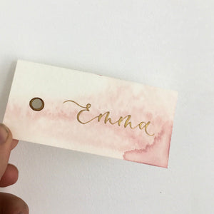 Pink Watercolour Place Cards