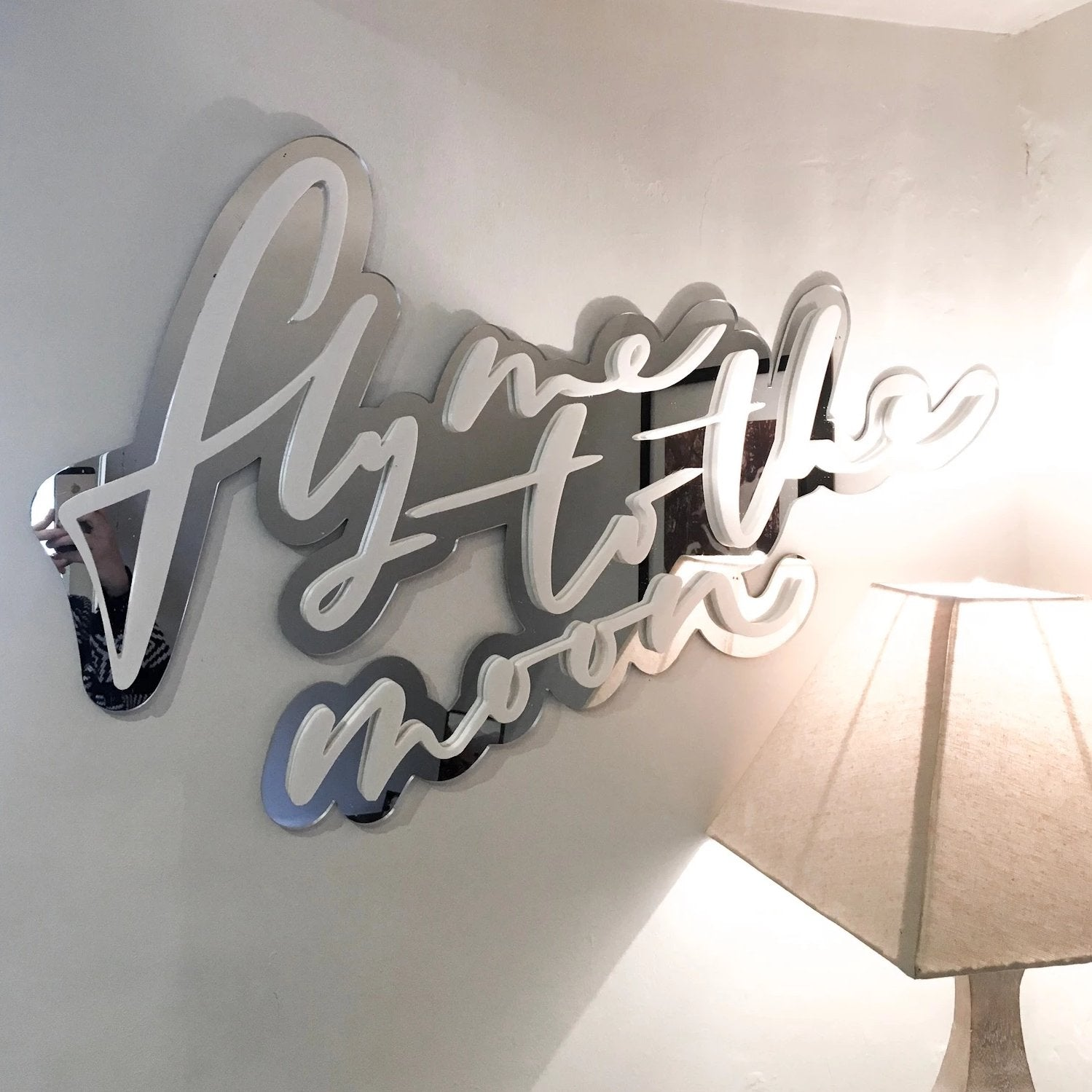 White Perspex Mirror Signage 'Fly me to the Moon'