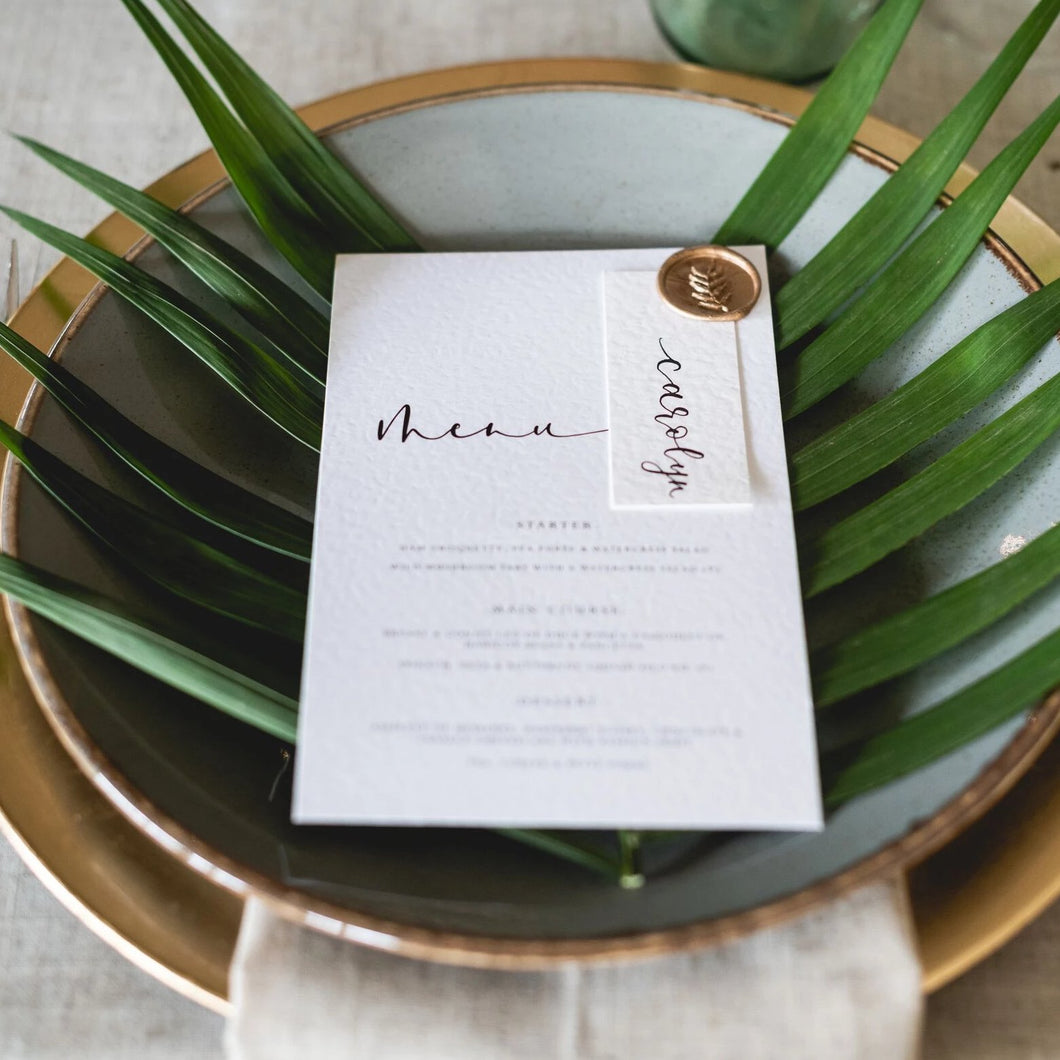 menu and place card combo