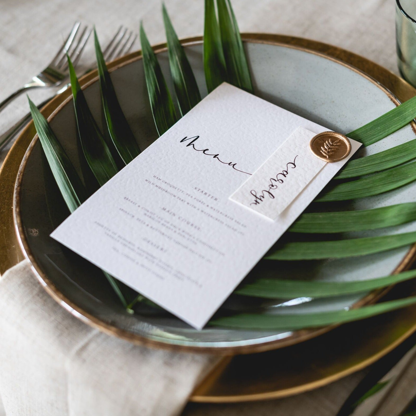 Wax Seal Menu with Place Card