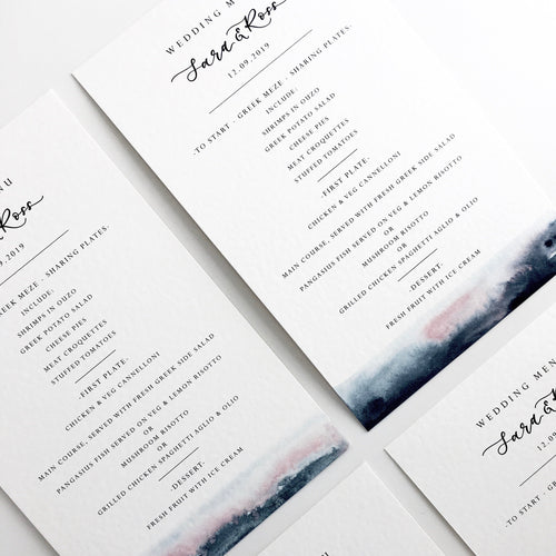 pink and blue wedding menu