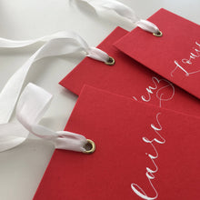 Load image into Gallery viewer, Red Eyelet Place Cards