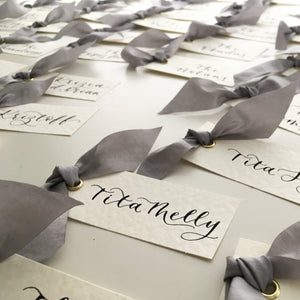 Grey Silk Place Cards