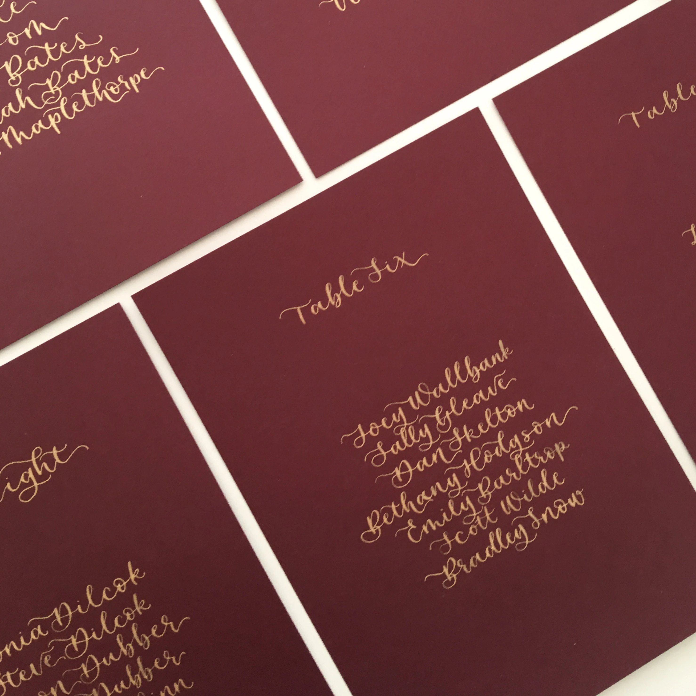 Burgundy Table Plan Cards