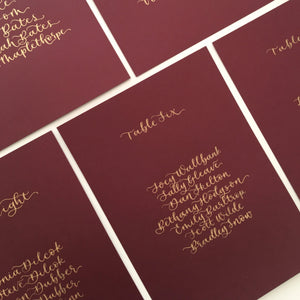 Burgundy & Gold Table Plan Cards