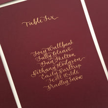 Load image into Gallery viewer, Burgundy & Gold Table Plan Cards