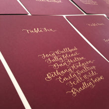Load image into Gallery viewer, Burgundy and Gold Table Plan Cards