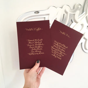 Burgundy and Gold Table Plan Cards