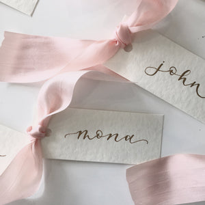Pink Silk Place Cards
