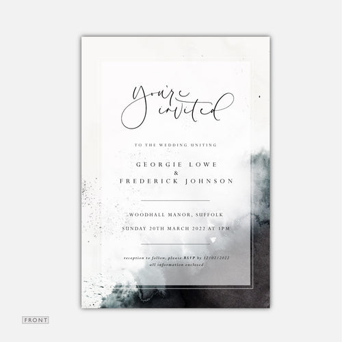 black watercolour wedding invitation