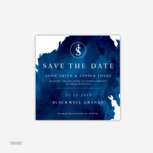 Load image into Gallery viewer, Navy Water Save the Date