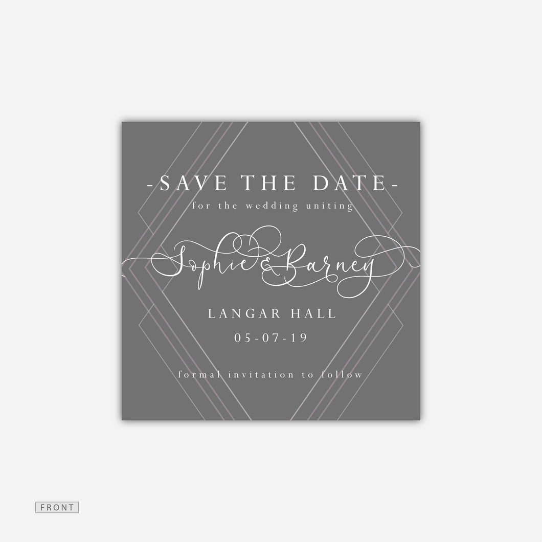 art deco style save the date