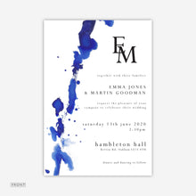 Load image into Gallery viewer, Blue Watercolour Wedding Invitation
