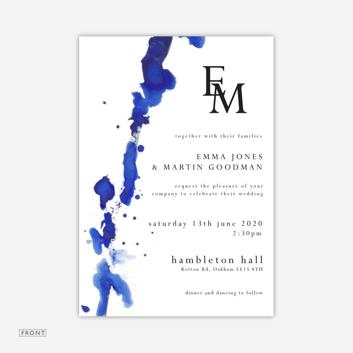 Blue Watercolour Wedding Invitation