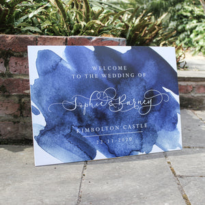 Blue Watercolour Welcome Sign