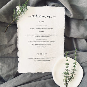 Cotton Rag Menu