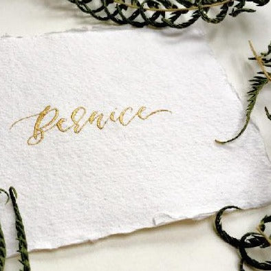 Luxury Recycled Place Cards - White and Gold