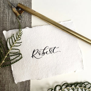 Modern Calligraphy Recycled Wedding Place Cards