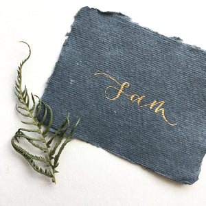 Luxury Recycled Place Cards - Dark Grey and Gold