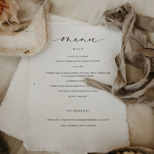 rustic wedding breakfast menu