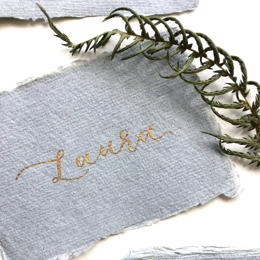 Luxury Recycled Place Cards - Light Grey and Gold