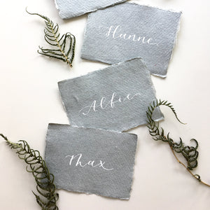 Luxury Recycled Place Cards - Light Grey and White