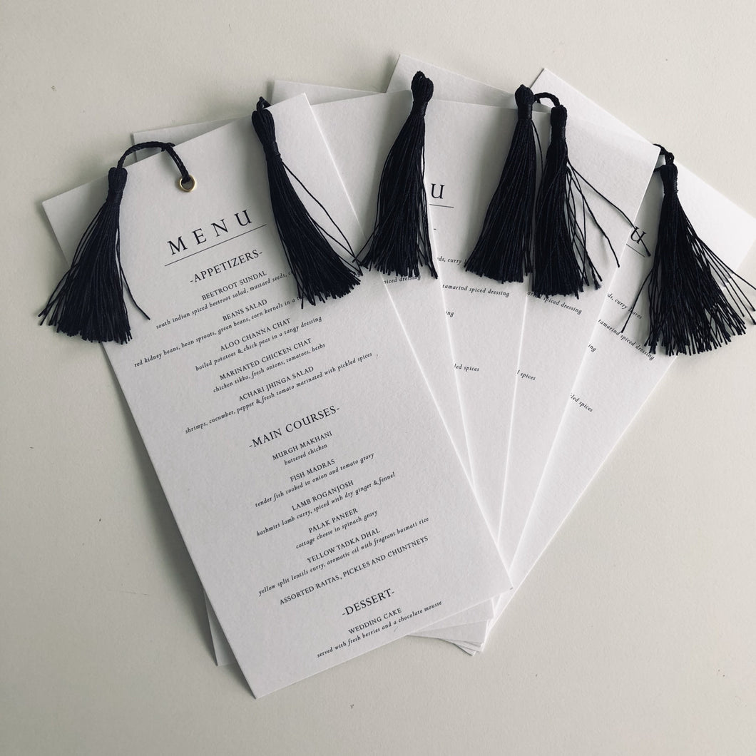 Wedding menu with tassel