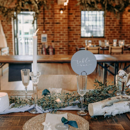 grey table numbers wedding