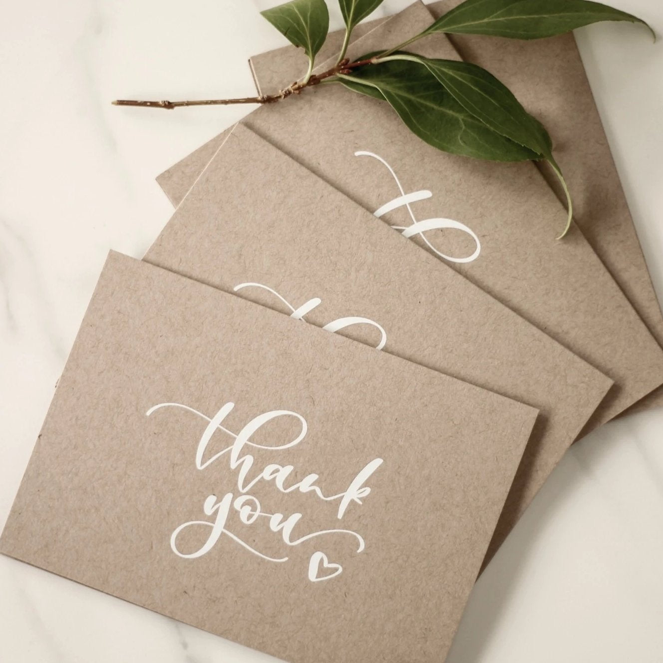 Pack of 12 Thank You Cards on Kraft Card