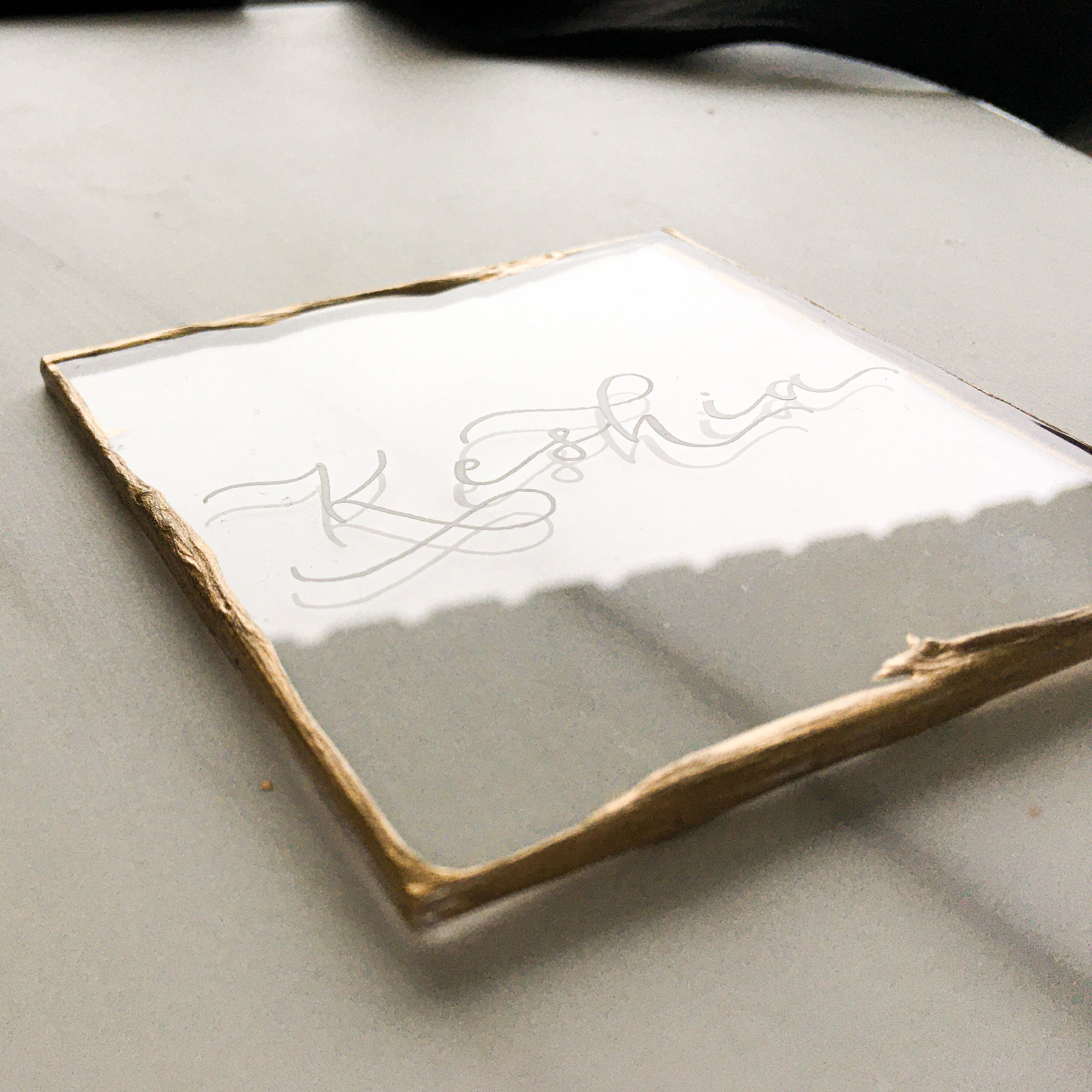 Rustic Gold Edge Place Cards