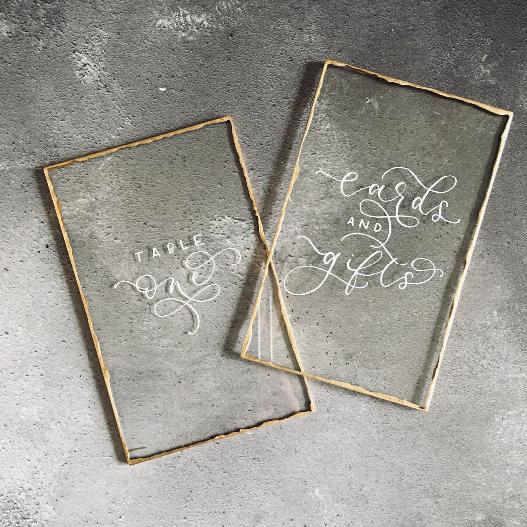 Luxury Perspex Gold Edge Table Numbers